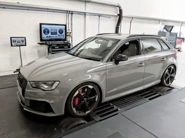An image of an Audi RS3 - one of the first vehicles to be tested on our new dyno.